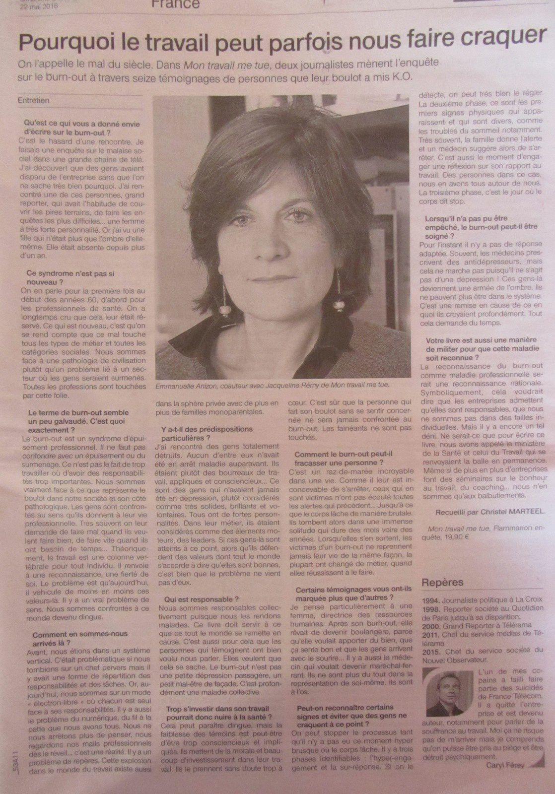 article ouest france dimanche 22 mai 2016 - burn out