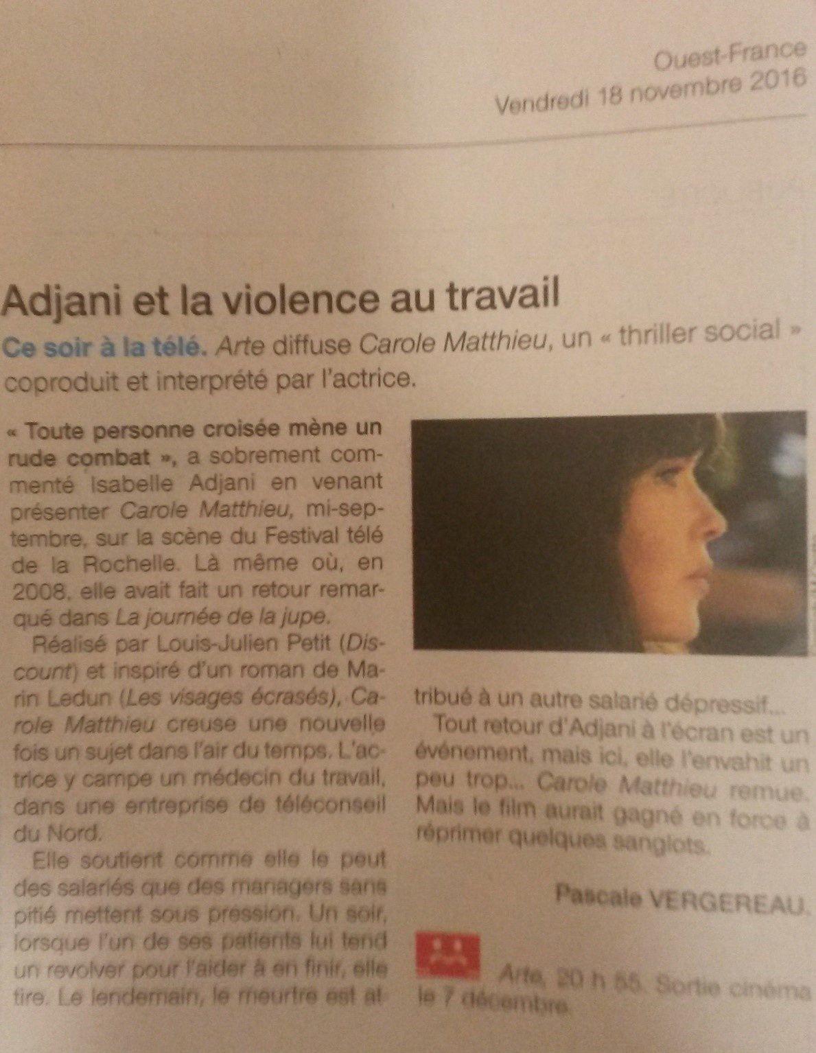copie des deux articles Ouest France du 18/11/2016