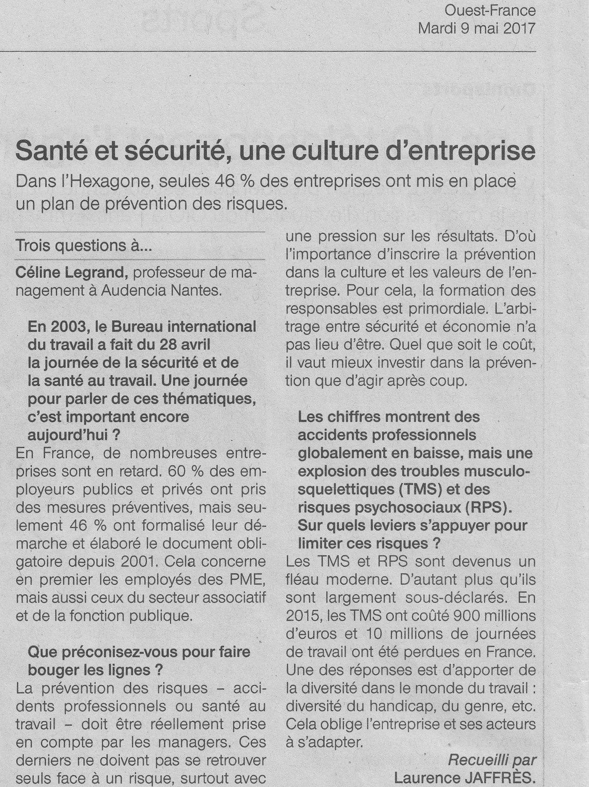 La prévention dans la presse régionale - Ouest France du 9 mai 2017
