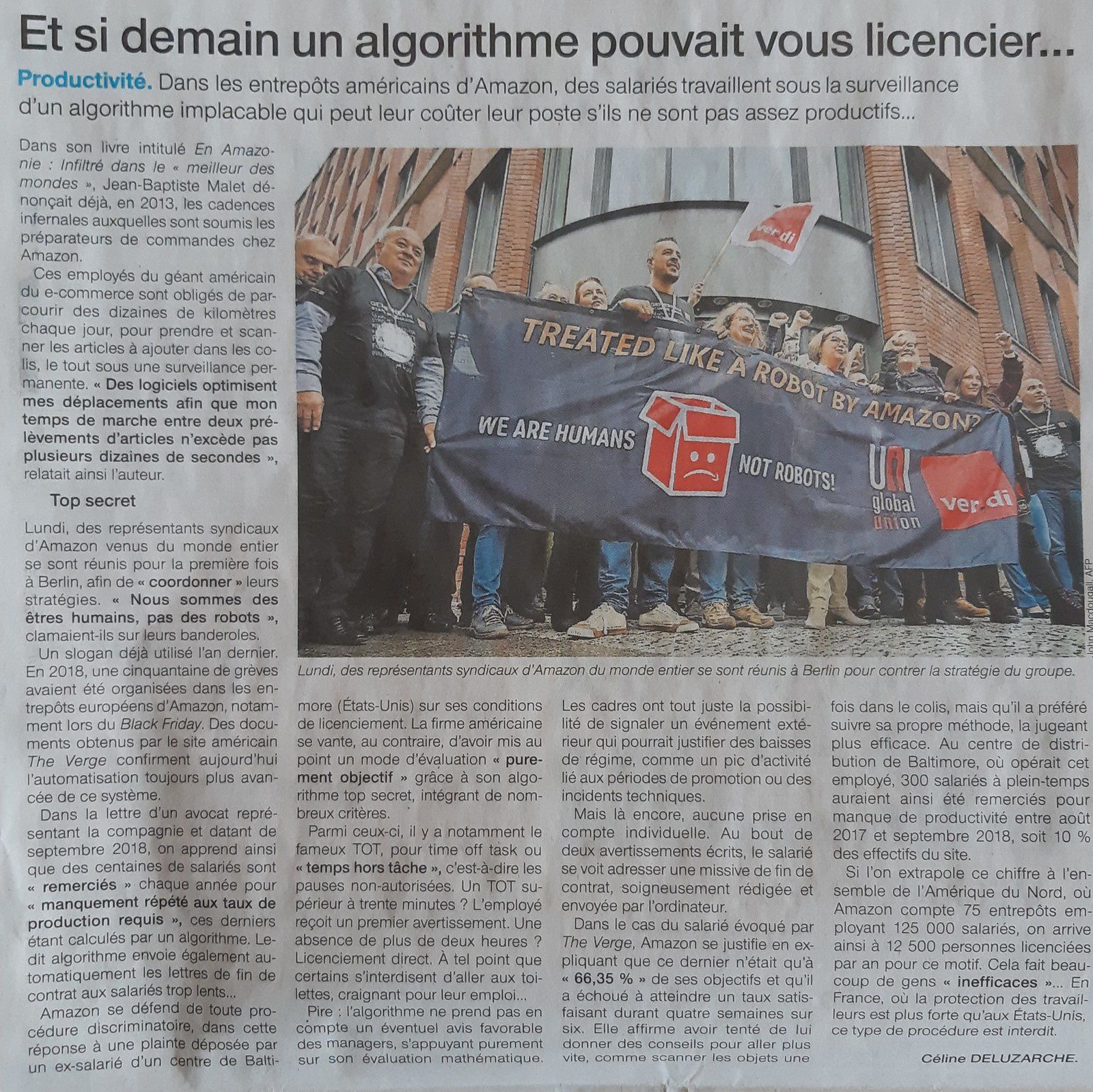 article issu de Ouest france début mai 2019 - algorithme et licenciement automatique chez Amazon.
