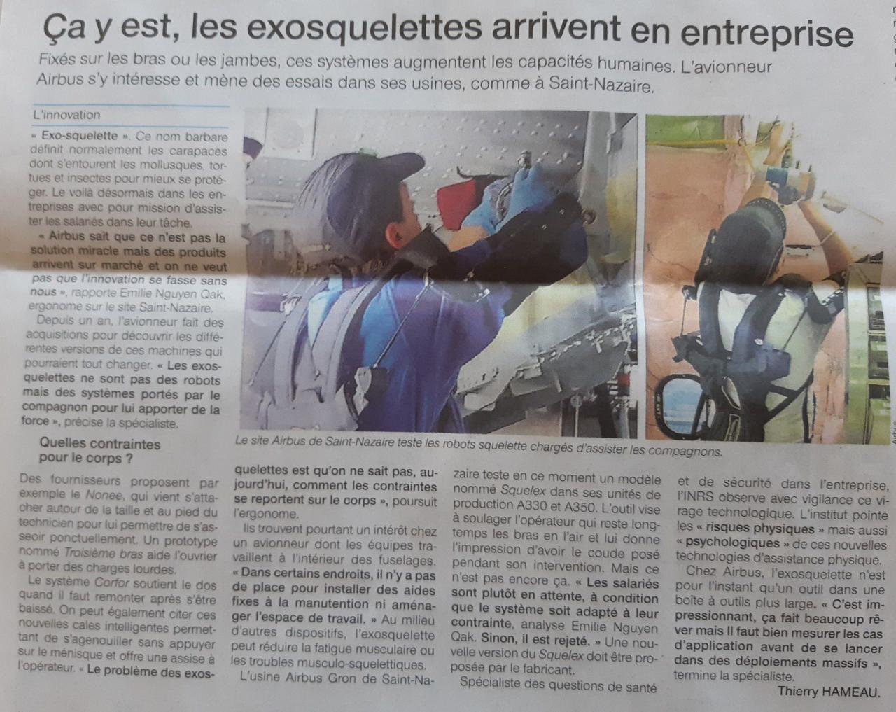 artcile Ouest France 2018 06 25 - exosquelettes